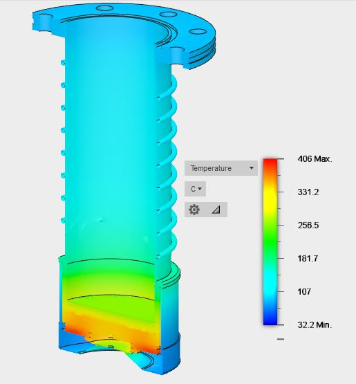 Edwards EO4 Diffusion Pump Thermal Modeling - DC 705, No Cooling, Internal View, Legend