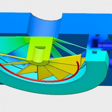 Water Cooled Baffle Thermal Modeling - Cooled 15C Cross-Sectional View