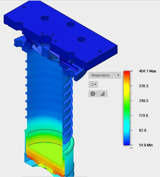 Water Cooled Baffle Thermal Modeling - Cooled 15C Full Model Cross-Sectional View