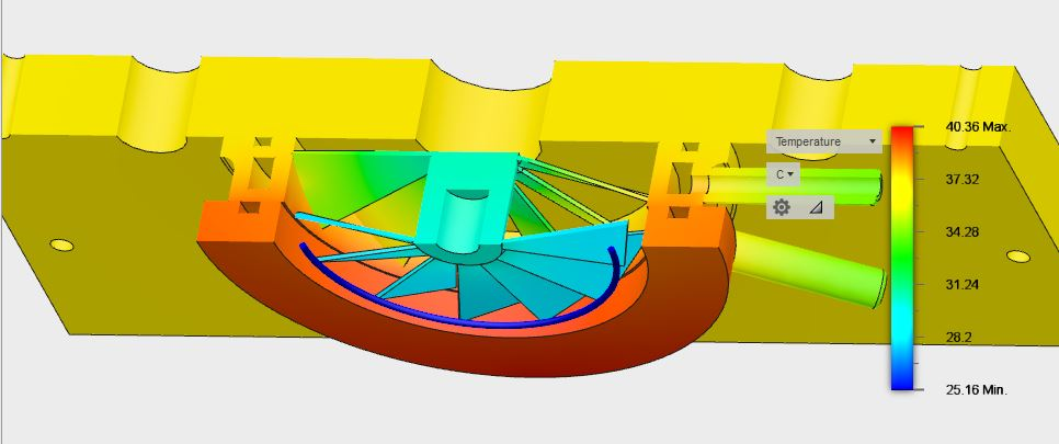 Water Cooled Baffle Thermal Modeling - Uncooled Cross-Sectional View