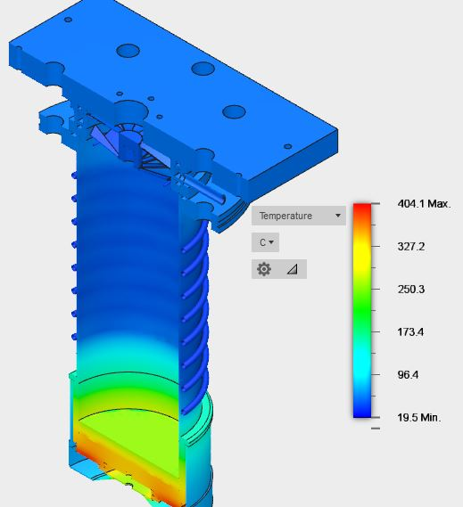 Water Cooled Baffle Thermal Modeling - Uncooled Full Model Cross-Sectional View