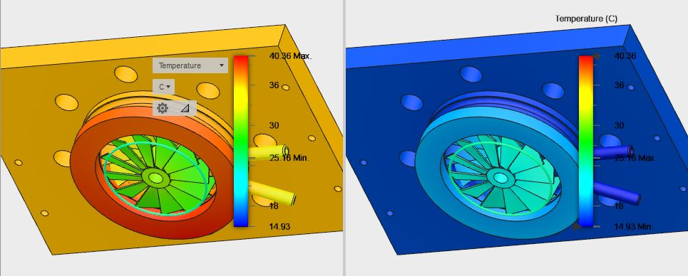 Water Cooled Baffle Thermal Modeling - Uncooled vs Cooled 15C, Side by Side, Normalized Gradient