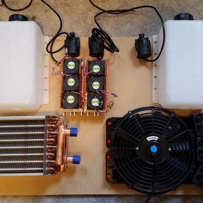 Cooling System V2 Layout for the closed loop diffusion pump water cooling system.