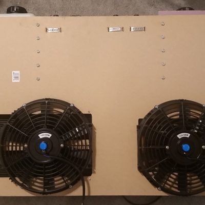 Closed loop diffusion pump cooling system back with fans mounted