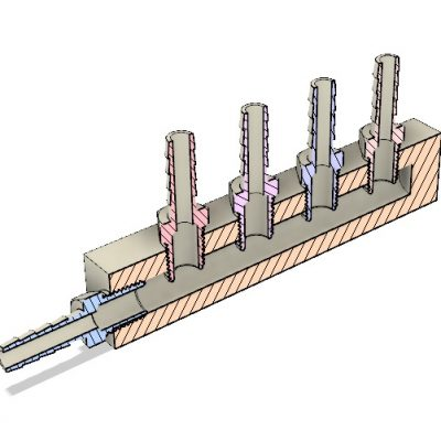 Peltier Hot Side Inlet Manifold Assembly CAD Cross-Sectional View