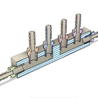 Peltier Hot Side Outlet Manifold Assembly CAD Cross-Sectional View