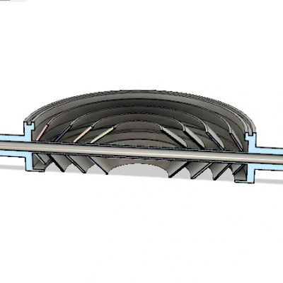 """8"""" Water Cooled Baffle Cross-Sectional View"""