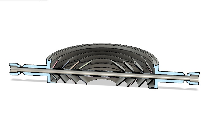 "8"" Water Cooled Baffle Cross-Sectional View"
