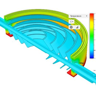 8in Baffle Cross Sectional View - Cooled 25C, 25C Ambient, 25C Diffusion Pump Cooling