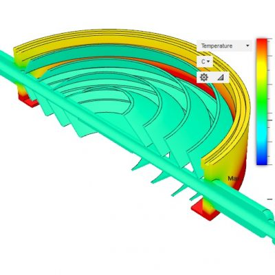 8in Baffle Cross Sectional View - Cooled 35C, 35C Ambient, 35C Diffusion Pump Cooling