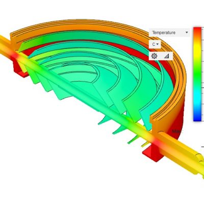 8in Baffle Cross Sectional View - Uncooled, 35C Ambient, 35C Diffusion Pump Cooling