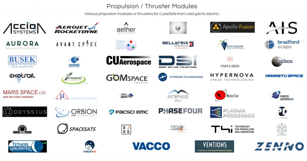 Nanosats Database Propulsion Listing