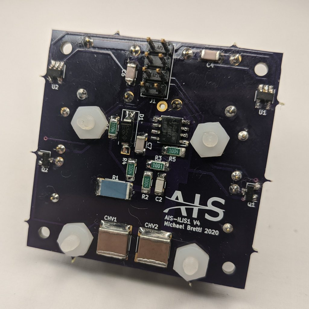 AIS-ILIS1 Electrospray Thruster V4 Board with Test Load Assembly Back