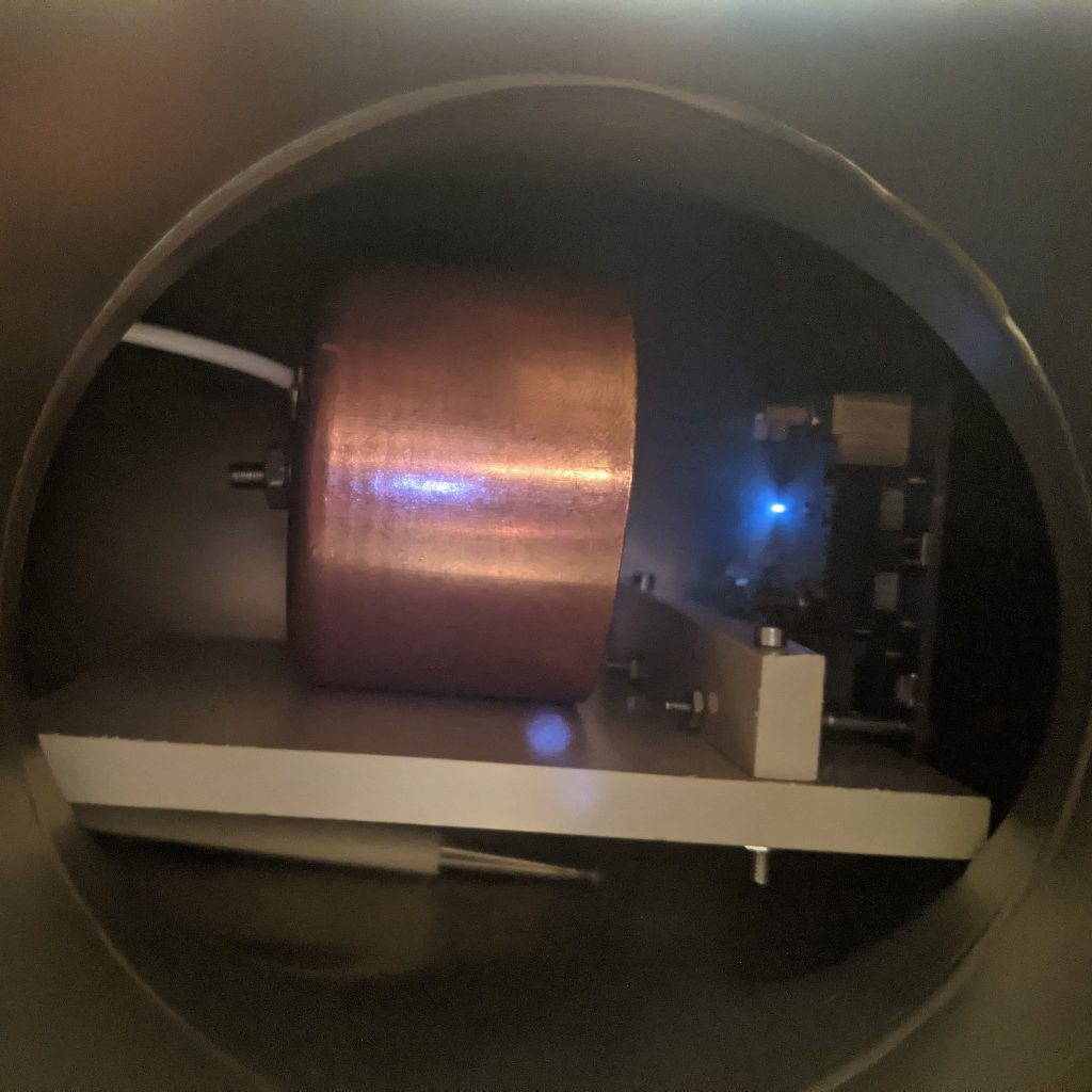 AIS-ILIS1 Ionic Liquid Electrospray Thruster Ignition Test 7 Ion Beam Emission - 40uA, 3uN