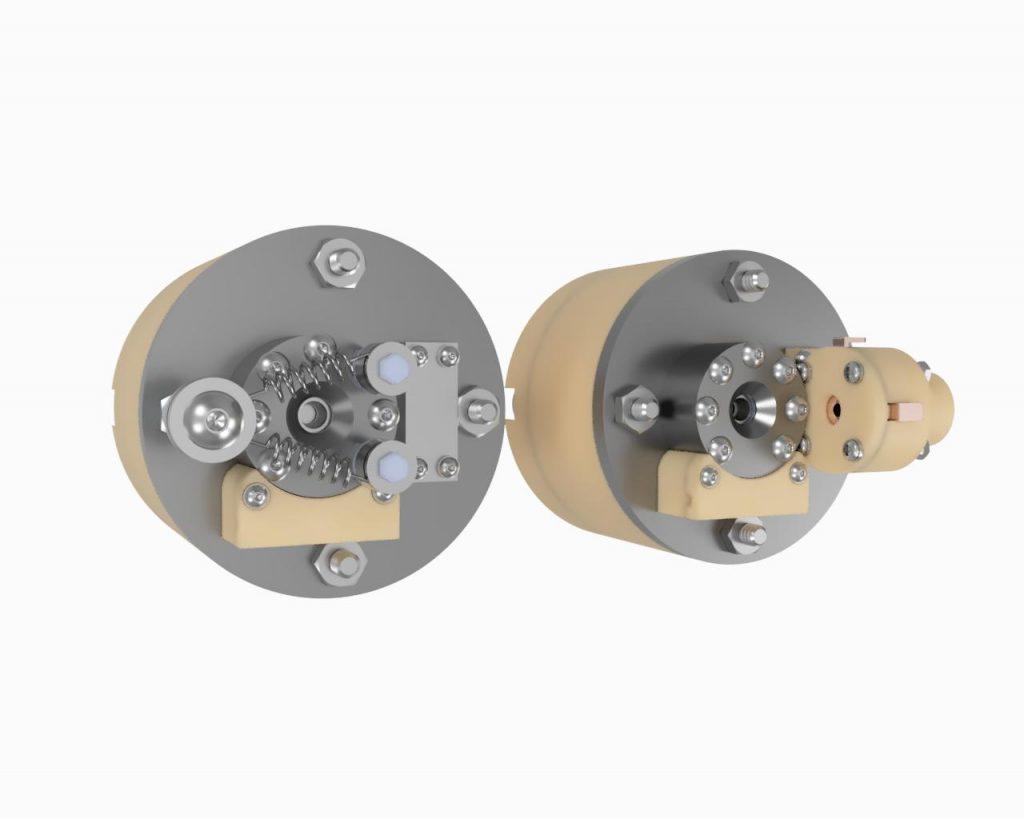 AIS-EHT1 Micro End Hall Thruster Render - Hollow Cathode vs Filament