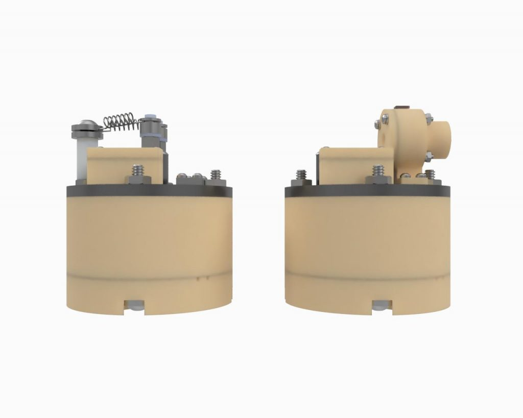 AIS-EHT1 Micro End Hall Thruster Render - Hollow Cathode vs Filament Side