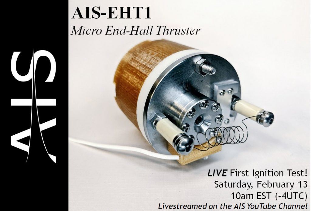AIS-EHT1 Micro End-Hall Thruster First LIVE Ignition Test Promotion