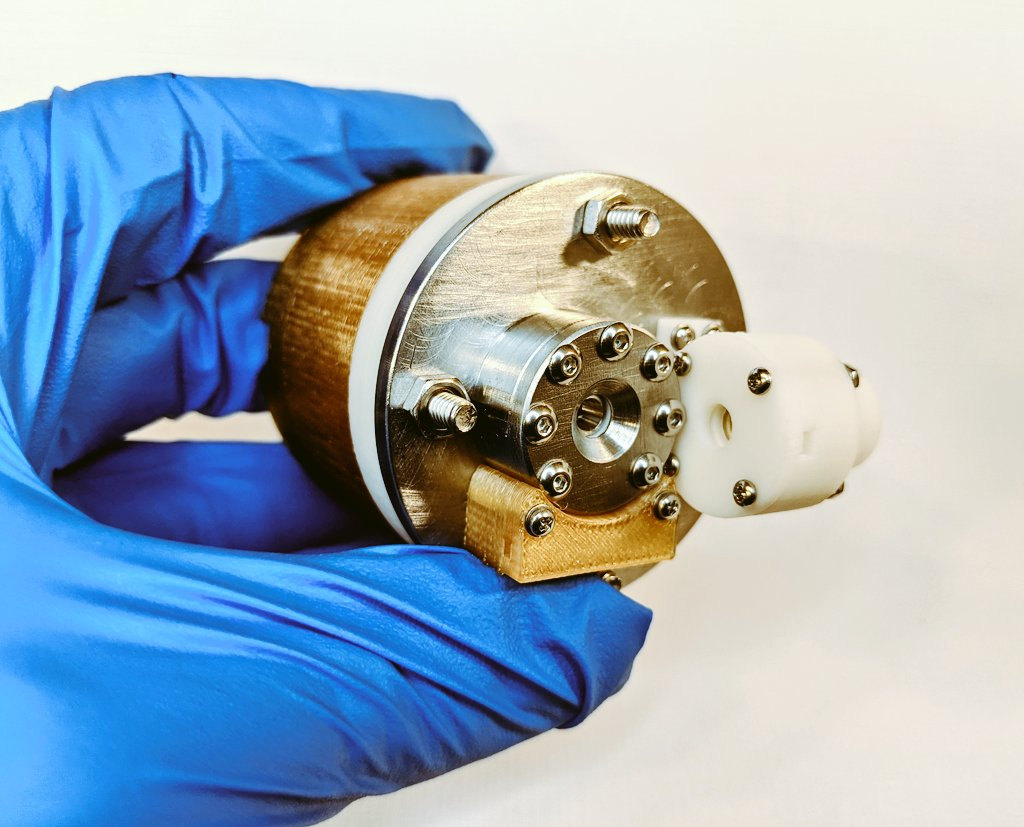 AIS-EHT1 Micro End Hall Thruster - Full Thruster Assembly with Fuel Delivery System Size Reference 1