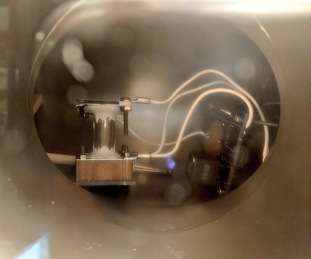 Adamantane Sublimation and Glow Discharge Ionization Test 4 - Test Cell In Vacuum Chamber
