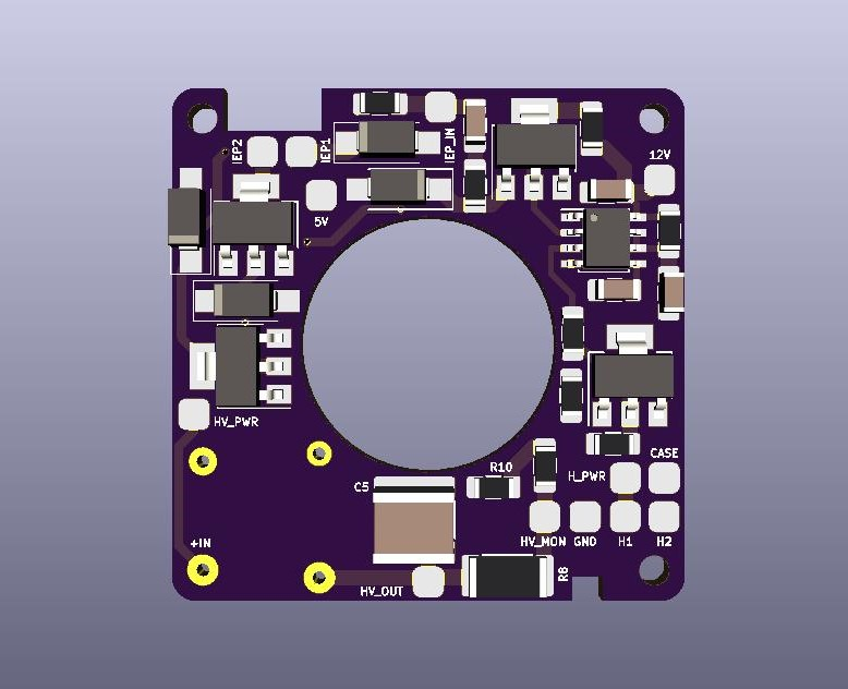 AIS-AHT1-PQ - Pico Anode Layer Hall Thruster - Main Board V1 Render FRONT